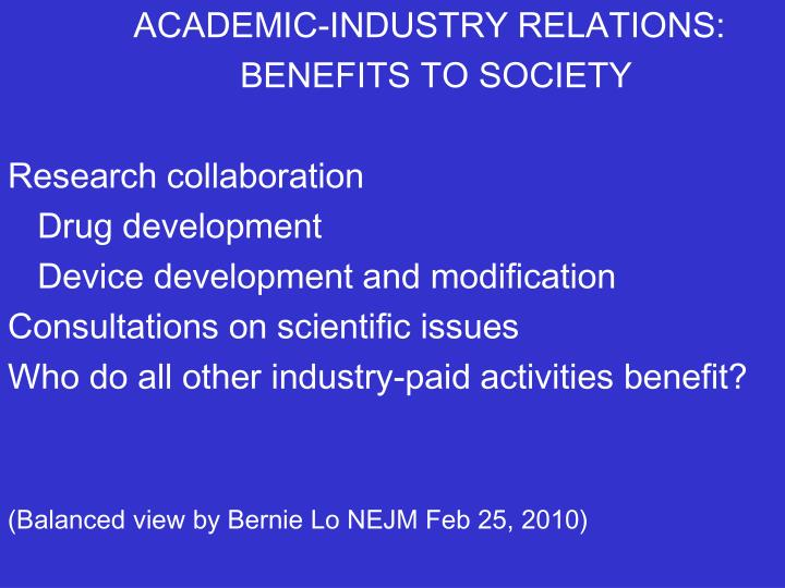 ACADEMIC-INDUSTRY RELATIONS: