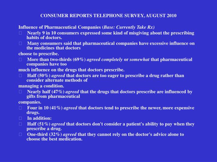CONSUMER REPORTS TELEPHONE SURVEY, AUGUST 2010
