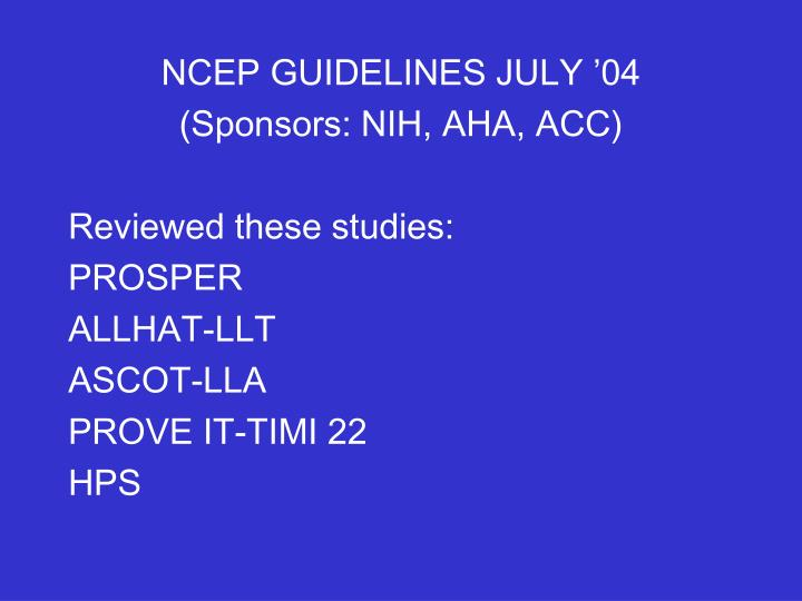 NCEP GUIDELINES JULY '04