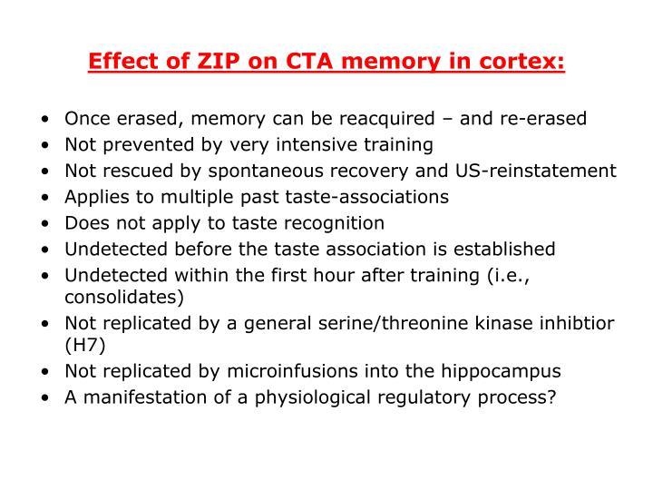 Effect of ZIP on CTA memory in cortex: