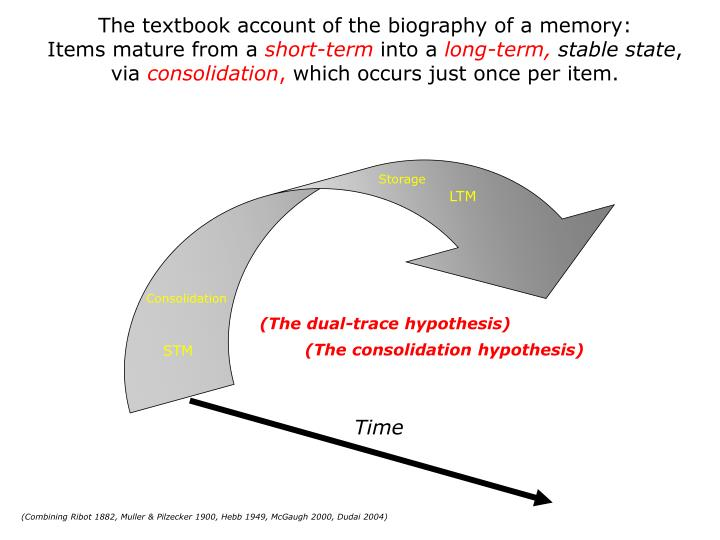 The textbook account of the biography of a memory: