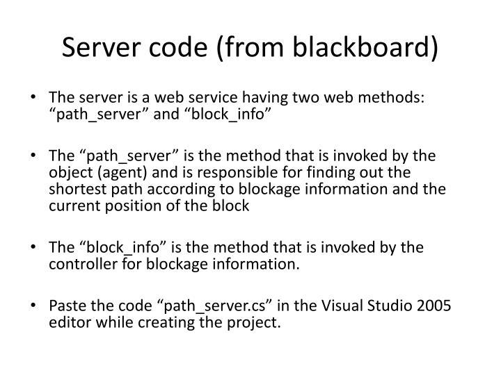 Server code (from blackboard)