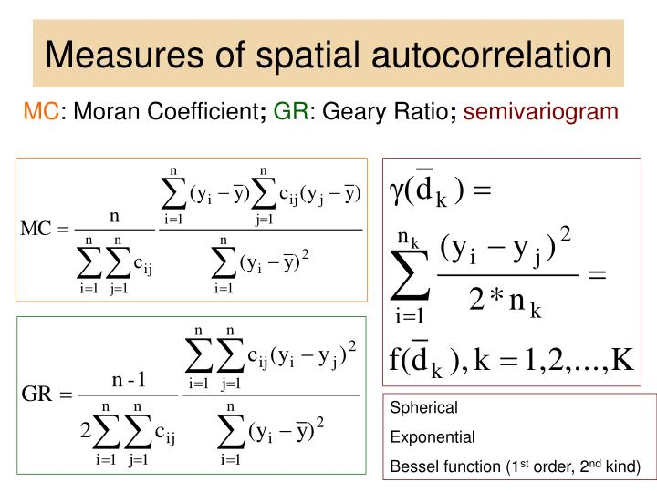 Measures of spatial autocorrelation