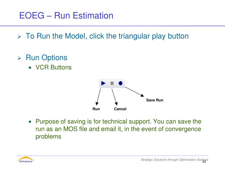 To Run the Model, click the triangular play button