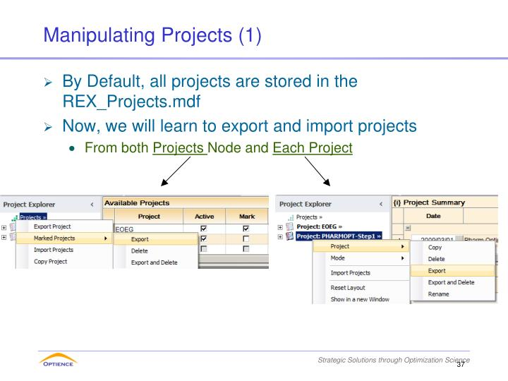 Manipulating Projects (1)
