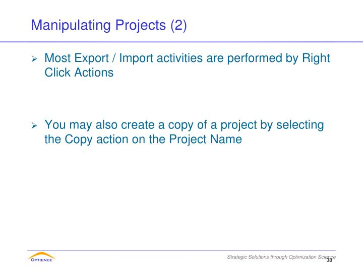 Manipulating Projects (2)