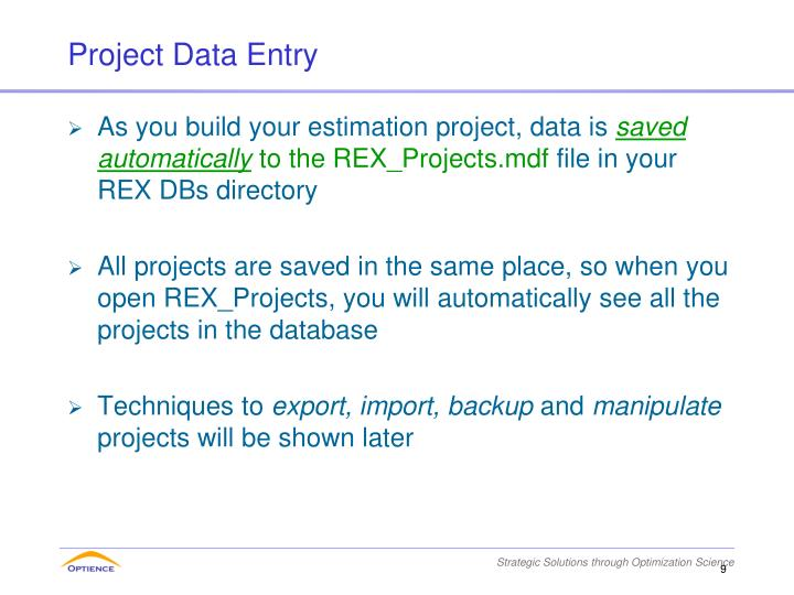 Project Data Entry