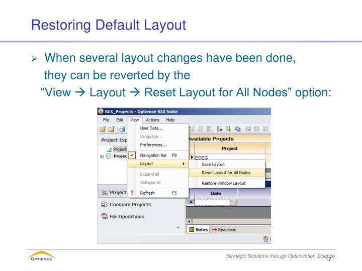 Restoring Default Layout