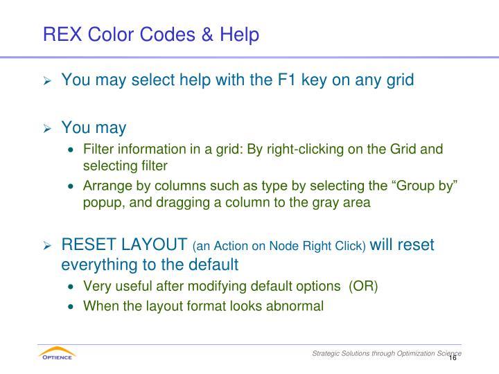 REX Color Codes & Help