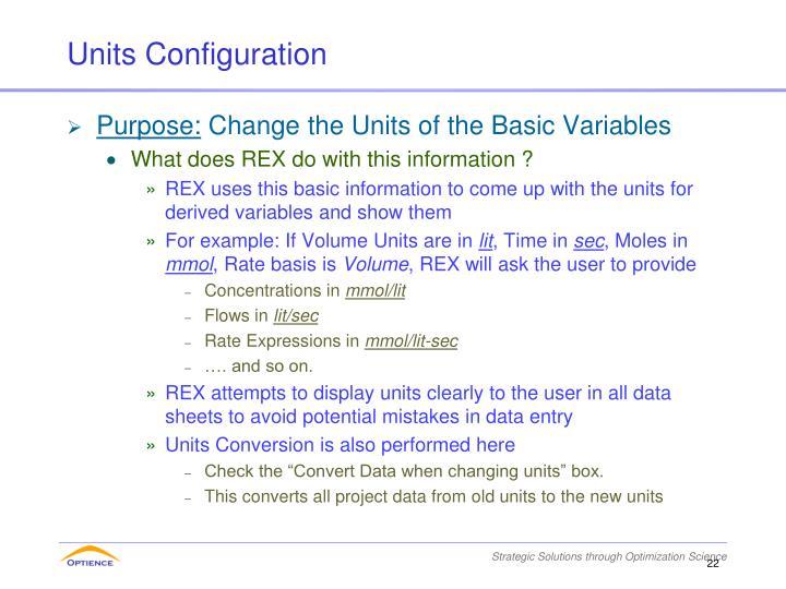 Units Configuration