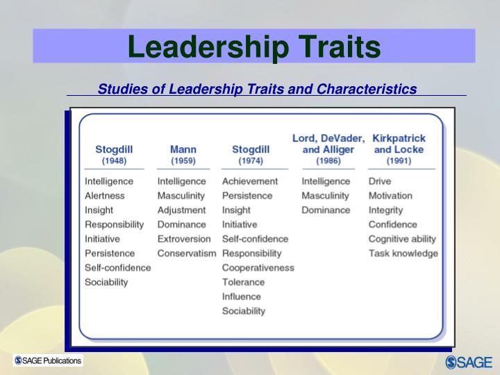 Studies of Leadership Traits and Characteristics