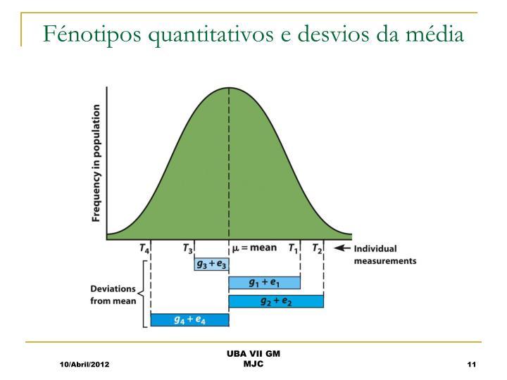 Fénotipos quantitativos e desvios da média