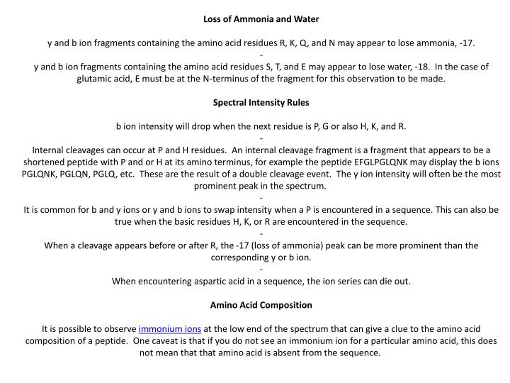 Loss of Ammonia and Water