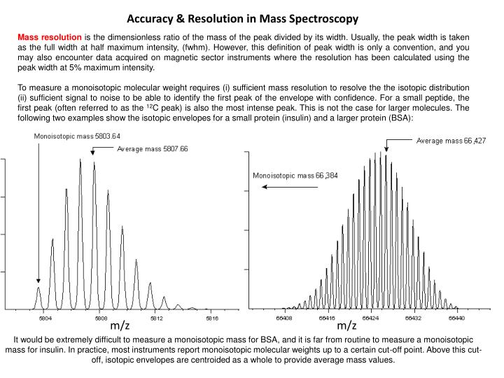 Accuracy & Resolution in Mass Spectroscopy