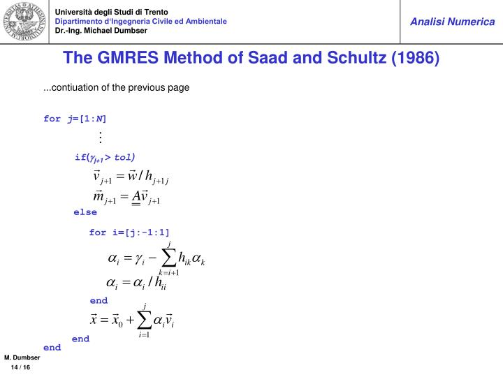 The GMRES Method of Saad and Schultz (1986)