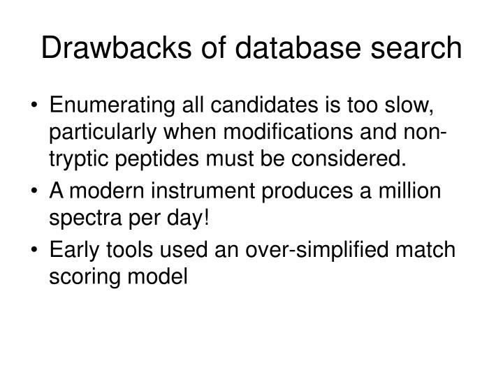 Drawbacks of database search