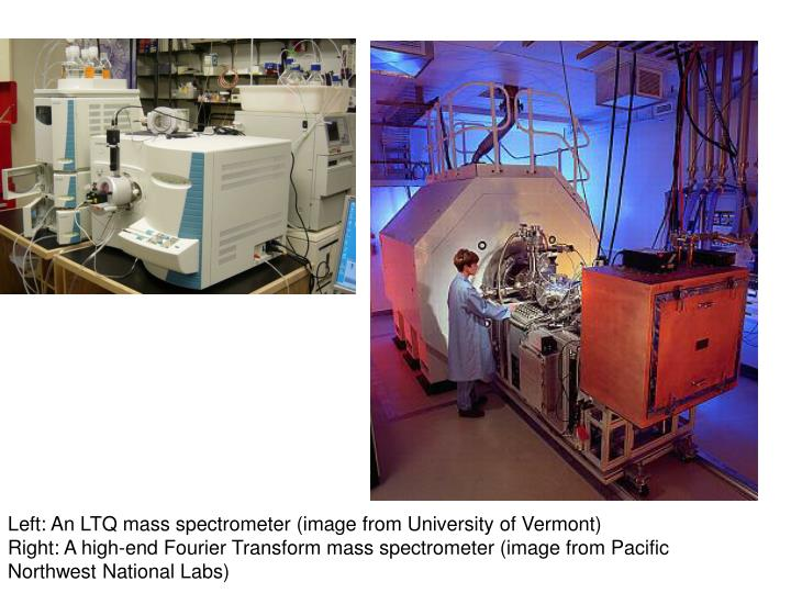 Left: An LTQ mass spectrometer (image from University of Vermont)