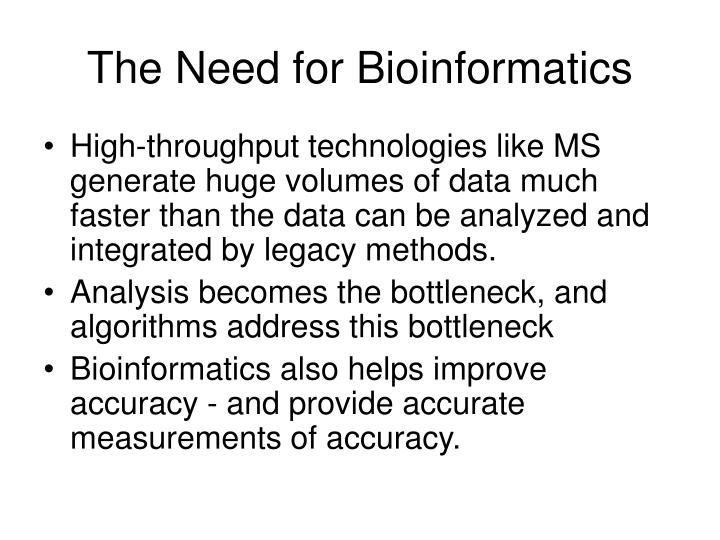 The Need for Bioinformatics