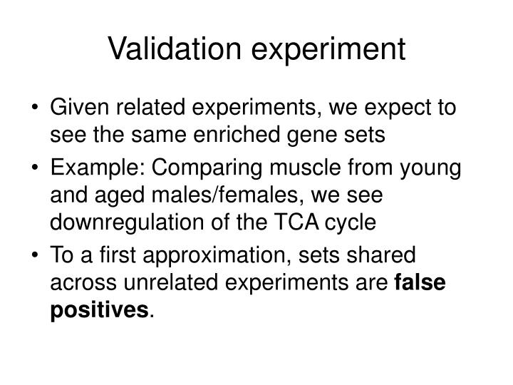 Validation experiment
