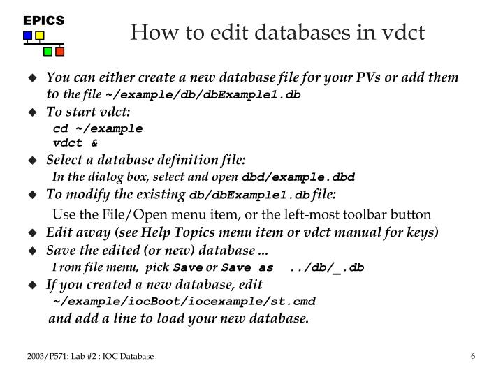 How to edit databases in vdct