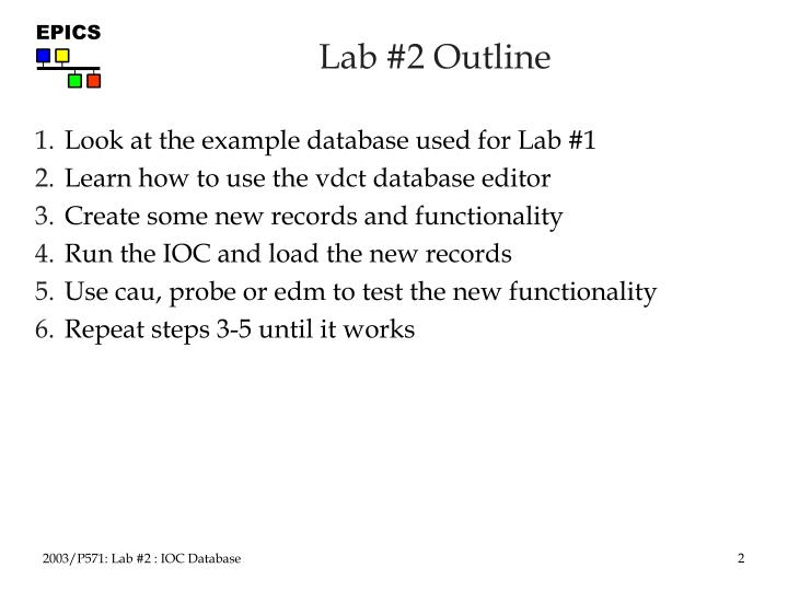 Lab 2 outline
