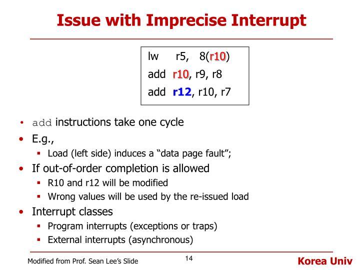 Issue with Imprecise Interrupt