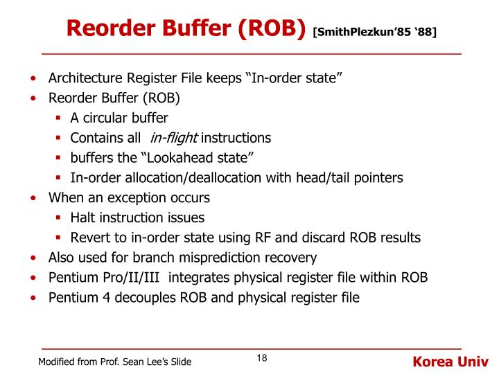 Reorder Buffer (ROB)