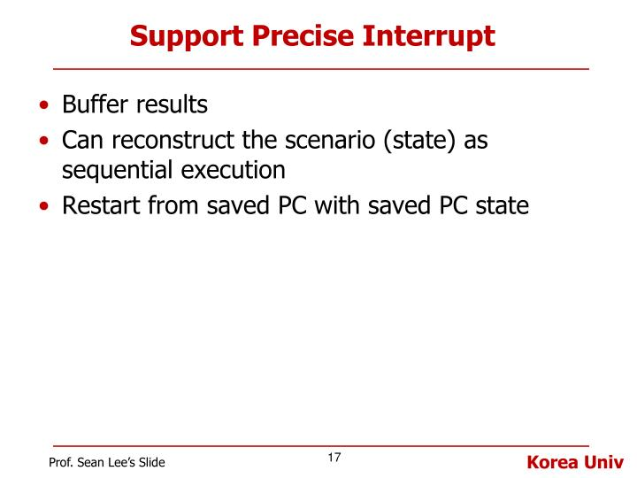 Support Precise Interrupt