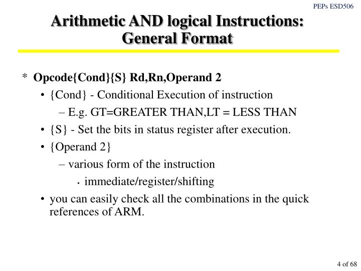 Arithmetic AND logical Instructions: