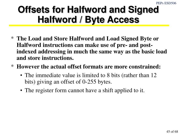 Offsets for Halfword and Signed Halfword / Byte Access