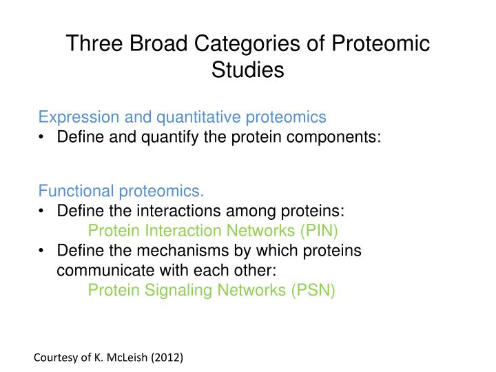 Three Broad Categories of Proteomic Studies