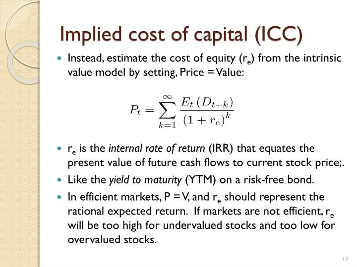 Implied cost of capital (ICC)