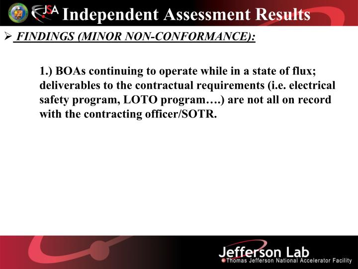 Independent Assessment Results