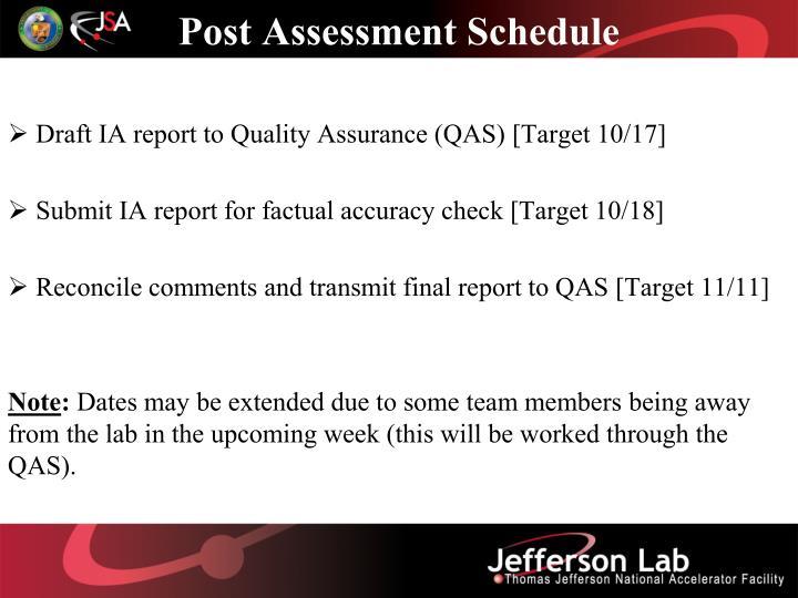 Post Assessment Schedule