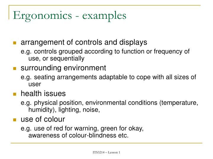 Ergonomics - examples