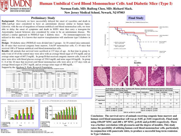 Human Umbilical Cord Blood Mononuclear Cells And Diabetic Mice (Type I)