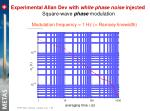 experimental allan dev with white phase noise injected square wave phase modulation