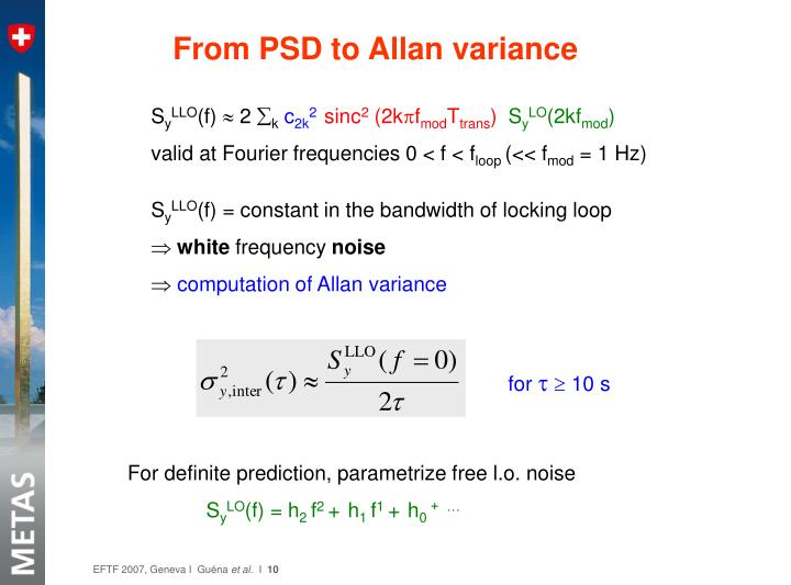 From PSD to Allan variance