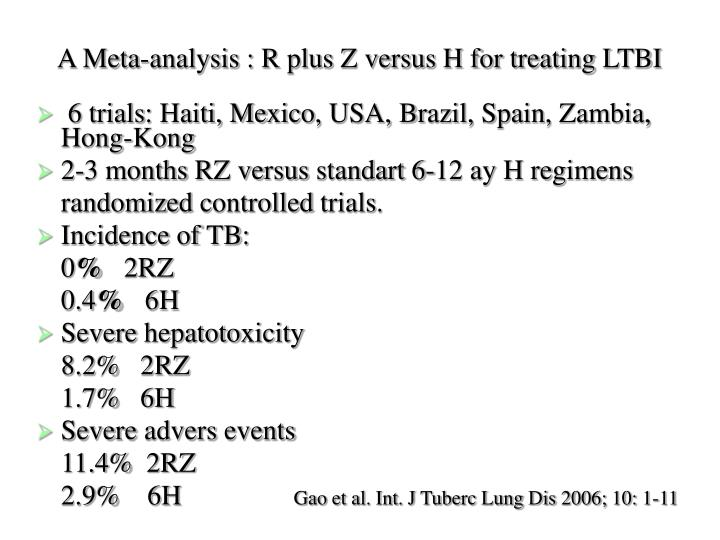 A Meta-analysis : R plus Z versus H for treating
