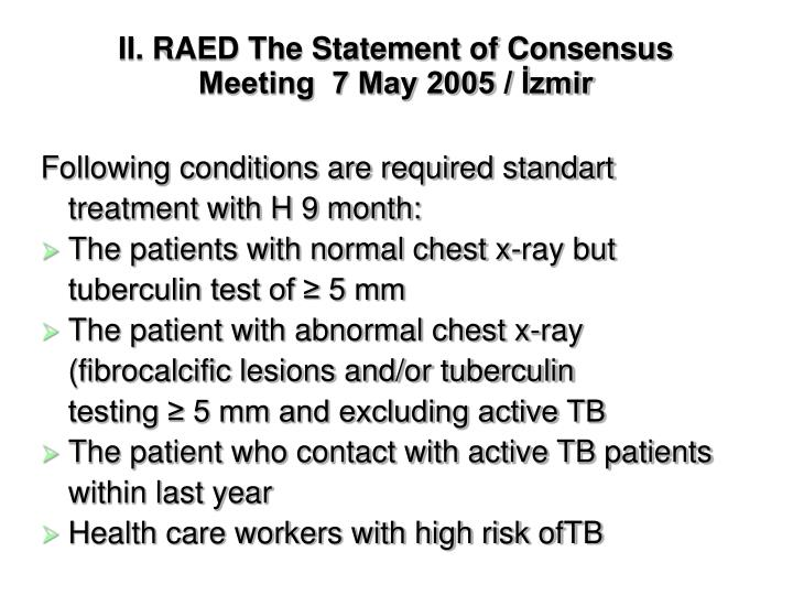 II. RAED The Statement of Consensus