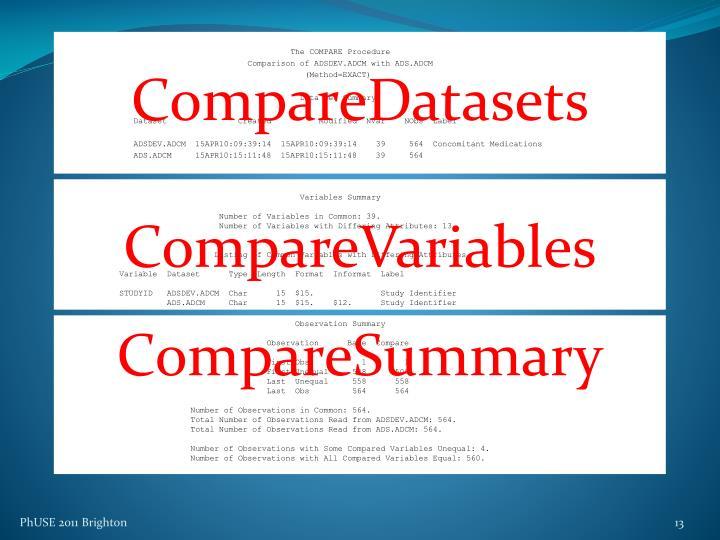 CompareDatasets