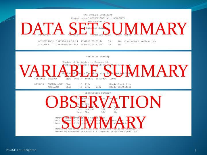 DATA SET SUMMARY