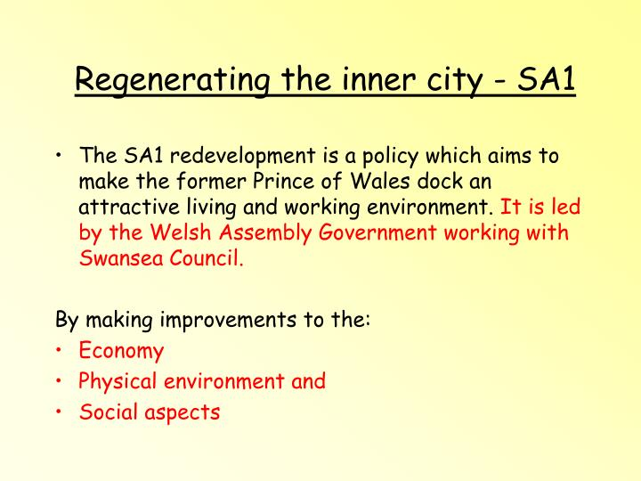 Regenerating the inner city - SA1