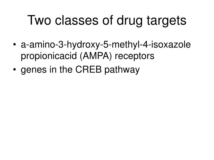 Two classes of drug targets
