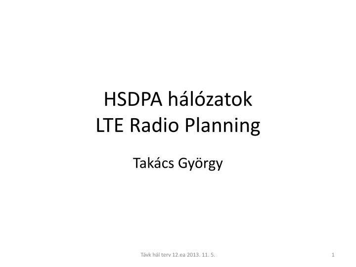 HSDPA hálózatok