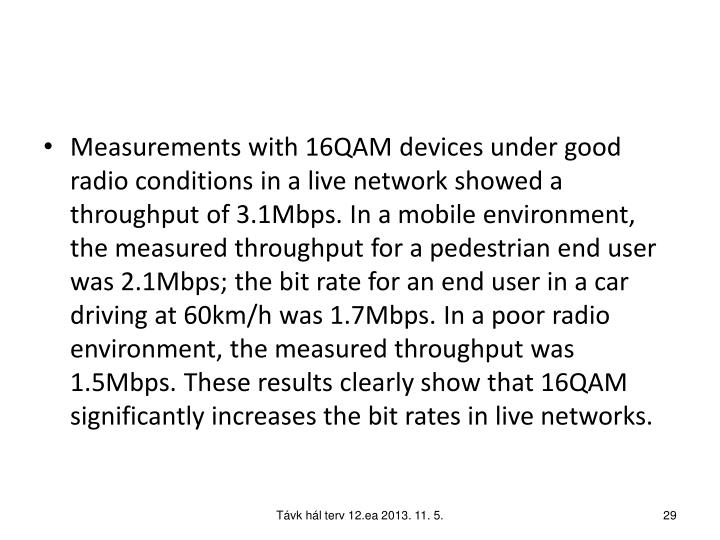 Measurements with 16QAM devices under good radio conditions in a live network showed a throughput of 3.1Mbps. In a mobile environment, the measured throughput for a pedestrian end user was 2.1Mbps; the bit rate for an end user in a car driving at 60km/h was 1.7Mbps. In a poor radio environment, the measured throughput was 1.5Mbps. These results clearly show that 16QAM significantly increases the bit rates in live networks.