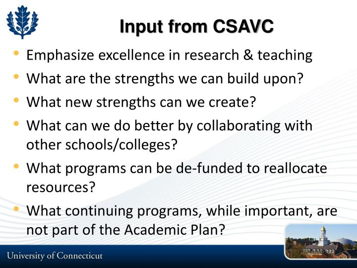Input from CSAVC