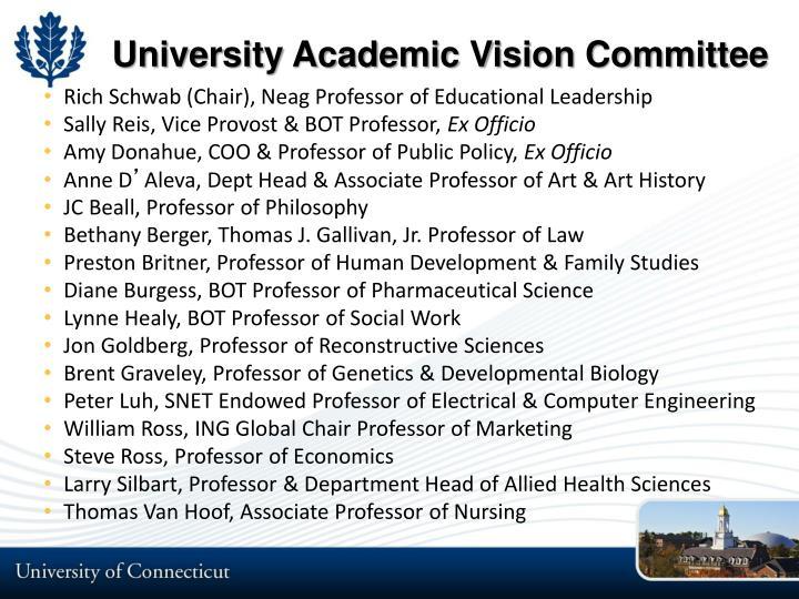 University Academic Vision Committee