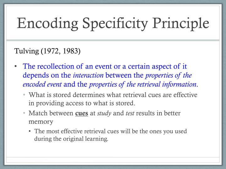 Encoding Specificity Principle