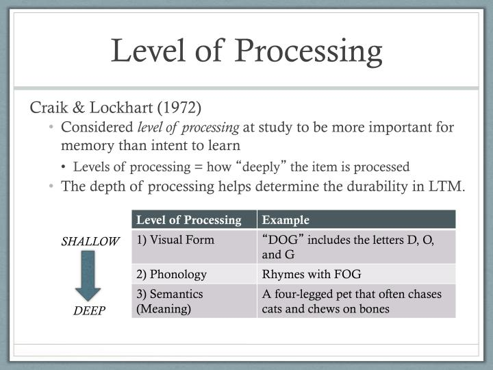 Level of Processing